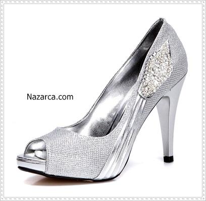 Gelinlik altına giyilen ayakkabılarsimli-lame-platform-topuklu-gelin-ayakkabisi
