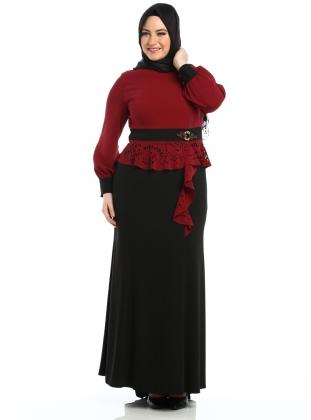 bordo-siyah-uzun-kapali-tesetturlu-abiye-dugun-sunnet-annesi-elbisesi