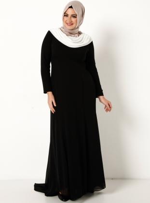 dokumlu-yaka-uzun-siyah-kapali-bayan-buyuk-beden-abiye-elbise