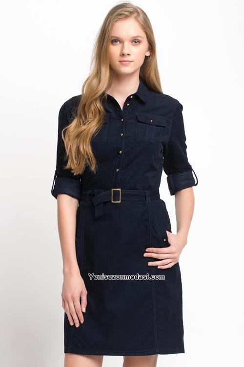 Uzun bayan elbiseleri siyah elbise modelleri gunluk pictures to pin on - Kisa Kollu Keten Onden Dugmeli Kemerli Spor Elbise