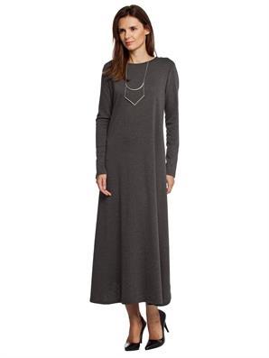 fume-renk-uzun-etekli-kollu-sade-bayan-elbise