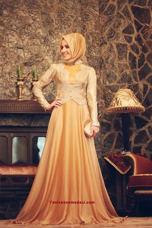 hardal-altin-rengi-ask-gold-mahi-devran-Tesettur-abiye-kapali-elbisesi