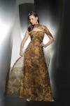 kahverengi-hardal-rengi-desenli-starplez-uzun abiye-elbise