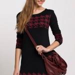 kaz-ayagi-desenli-siyah-bordo-uzun-kollu-kislik-triko-elbise