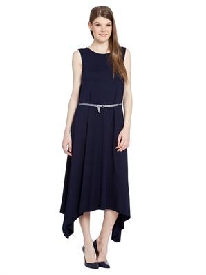 kolsuz-lacivert-simetrik-kesim-kemerli-elbise
