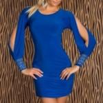 mavi-kollari-yirtmacli-mini-dar-elbise