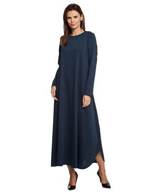 petrol-mavisi-uzun-kollu-uzun-elbise-genis-bol