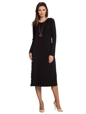 siyah-biye-detayli-duz-diz-alti-elbise