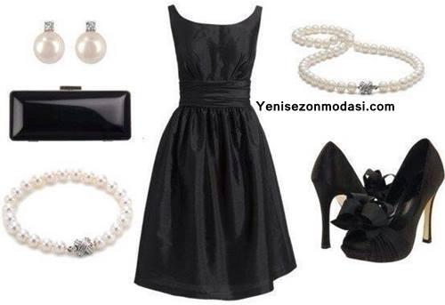 siyah-kolsuz-elbise-kombini