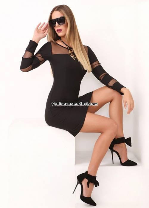 siyah-mini-kollari-uzun-tul-detayli-duz-siyah-elbise