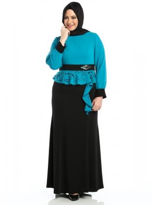 tesettur-uzun-abiye-mavili-siyahli-elbise