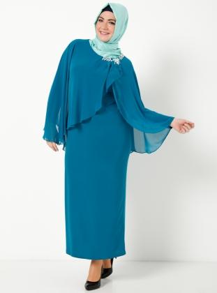 uzun-kollu-sifon-petrol-yesili-abiye-tesetturlu-elbise