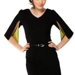 v-yaka-yirtmac-kollu-kemerli-siyah-elbise