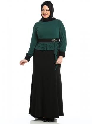 yesil-siyah-iki-parca-gorunumlu-tesettur-abiye-buyuk-beden-elbise